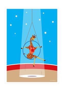 Affiche girafe trapéziste