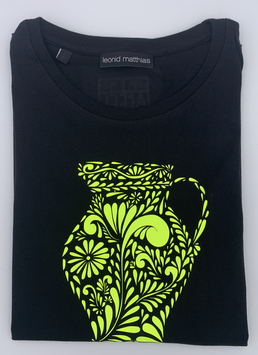 "Ak-Damen - organic Bembel-Shirt "" neongelb auf schwarz"""