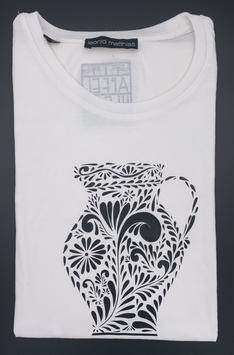 """Ak-Damen - organic Bembel-Shirt """" schwarz auf weiß"""""""