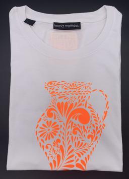 "Ak-Damen - organic Bembel-Shirt "" neonorange auf weiß"""