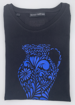 "Ak-Damen  - organic Bembel-Shirt "" blau auf schwarz"""