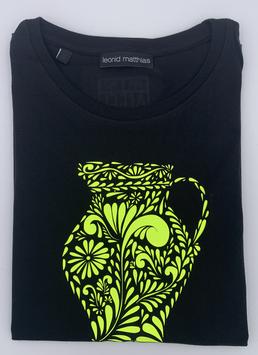 "Ak-Damen  - organic Bembel-Shirt ""neongelb auf schwarz"""