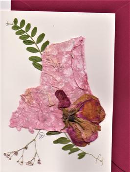 "3er Set Blüten-Faltkarten ""rosa - pink - bordeaux"" BSP10"