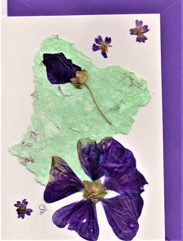 "3er Set Blüten-Faltkarten ""lila Hibiskus"" BSP13"