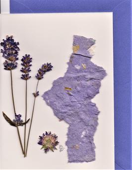 """3er Set Blüten-Faltkarten """"Lavendel Trilogie"""" BSP11"""