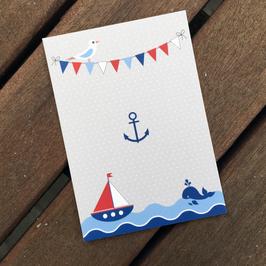 50 Textilkennzeichnungs-Schildchen maritim