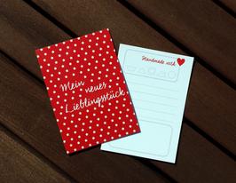 50 Textilkennzeichnungs-Schildchen Lieblingsstück Sternchen rot