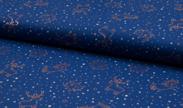 Tiere Foliendruck blau - Popeline