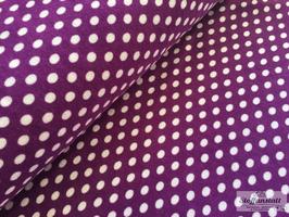 Dots violett/weiß - Stretchfrottee
