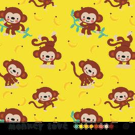 Monkey love - Äffchen Affen Bananen - Biojersey Lillestoff