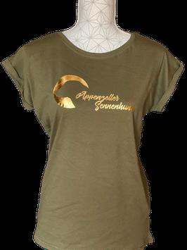 "Shirt Frauen ""Appenzeller Mond"" olive mit goldenem Print"