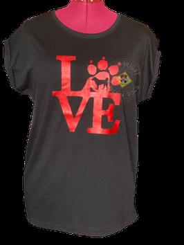 """Shirt Frauen """"Appenzeller Love"""" schwarz mit rotem Print"""