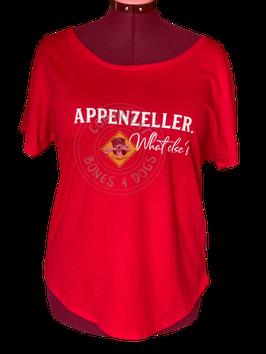 "Shirt Frauen ""Appenzeller What else"" rot mit weissem Print"