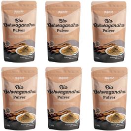 6 X Bio Ashwagandha Pulver von Monte Nativo – 700g Premium Qualität - Wurzel Pulver gemahlen - Indischer Ginseng - Schlafbeere - Withania Somnifera aus Indien - Laborgeprüft - Herg. in Deutschland