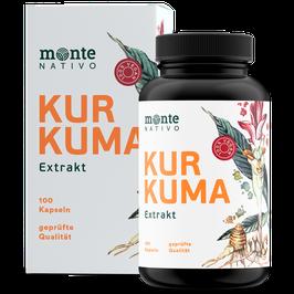 Kurkuma Extrakt Kapseln - Monte Nativo - 100 Kapseln - Curcuma Extrakt - Hochdosiert mit 95 % Extrakt und hohem Curcumingehalt - Vegan - Laborgeprüft - Ohne Zusatzstoffe - Hergest. in Deutschland