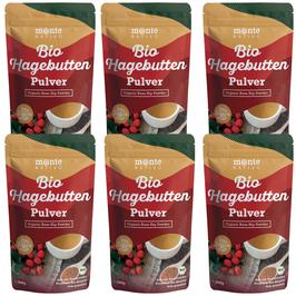 6 X Bio Hagebuttenpulver 1kg (1000g) Monte Nativo - Vegan und Frei von Zusatzstoffen - 100% Bio Hagebutten Pulver mit wertvollen Vitaminen und Mineralstoffen - aus kontrolliertem biologischen Anbau