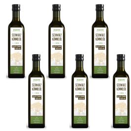 Schwarzkümmelöl MonteNativo (6x500ml) 3000ml Glasflasche - Milder Geschmack, Kaltgepresst, Rein und Naturbelassen, Nigella Sativa, 1 Liter, Kein Intensiver Geschmack