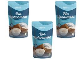 3 x Bio Kokosmehl 1kg (1000g) von Monte Nativo - Glutenfreie Alternative zu Weizenmehl - Ideal als Backzutat für Brot, Gebäck und Kuchen, als Bindemittel und zum Kochen - Dezent nussig-süßer Geschmack
