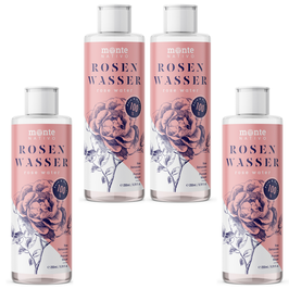 Rosenwasser MonteNativo 4x200ml - 100% natürlich, echtes Rosenwasser, Natural Rose Water