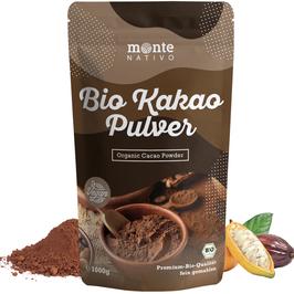 Bio Kakao Pulver 1 kg (1000g) Monte Nativo – Premium Rohkakaopulver – zuckerarm - nährstoffreich und fein gemahlen - stark entölt – aus kontrolliert biologischem Anbau - frei von Zusatzstoffen