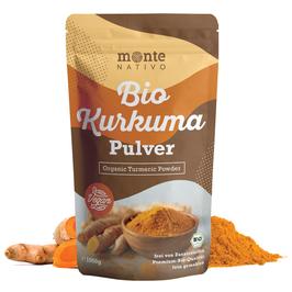 Bio Kurkuma Pulver von MonteNativo – 1000 g/1Kg gemahlen | 3 % Curcumingehalt | Bio Kurkuma aus Indien - geprüfte Qualität, abgefüllt in Deutschland