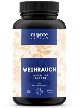 Weihrauch Extrakt MonteNativo – 240 Kapseln (85 % Boswelliasäure) | Hochdosiert mit 1240 mg Weihrauchextrakt je Tagesportion | Boswellia Serrata Weihrauch aus Indien, hergestellt in Deutschland