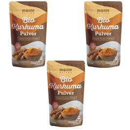 3 Х Bio Kurkuma Pulver von MonteNativo – 1000 g/1Kg gemahlen | 3 % Curcumingehalt | Bio Kurkuma aus Indien - geprüfte Qualität, abgefüllt in Deutschland