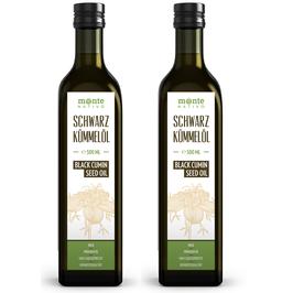 Schwarzkümmelöl MonteNativo (2x500ml) Glasflasche - Milder Geschmack, Kaltgepresst, Rein und Naturbelassen, Nigella Sativa, 1 Liter, Kein Intensiver Geschmack
