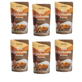 6 Х Bio Kurkuma Pulver von MonteNativo – 1000 g/1Kg gemahlen | 3 % Curcumingehalt | Bio Kurkuma aus Indien - geprüfte Qualität, abgefüllt in Deutschland