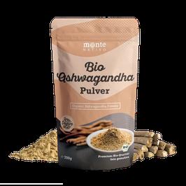 Bio Ashwagandha Pulver von Monte Nativo – 700g Premium Qualität - Wurzel Pulver gemahlen - Indischer Ginseng - Schlafbeere - Withania Somnifera - Bio zertifiziert aus Indien - Laborgeprüft
