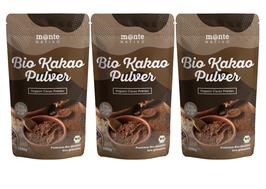 3 X Bio Kakao Pulver 1 kg (1000g) Monte Nativo – Premium Rohkakaopulver – zuckerarm - nährstoffreich und fein gemahlen - stark entölt – aus kontrolliert biologischem Anbau - frei von Zusatzstoffen