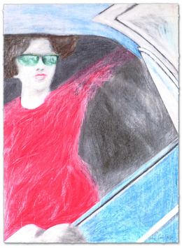 Gill: Woman with Red Dress in Blue Car