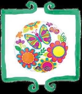 Palloncino Mylar Fiori e farfalle