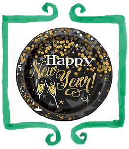 Piatti Happy New Year!  21 cm - 8 pezzi