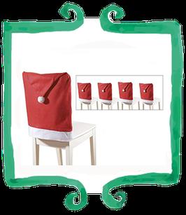 Coprisedia cappello di Babbo Natale - 4 pezzi