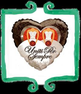 Palloncino mylar a cuore Uniti per sempre donna - 18 in (45 cm)