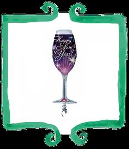 Palloncino Mylar Capodanno Calice Happy New Year!- 14 in x 38 in (35 cm x 96 cm)