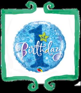 Palloncino 1 compleanno blu glitterato