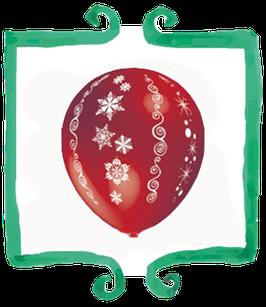 Palloncino in lattice stampato motivo natalizio - 10 pezzi
