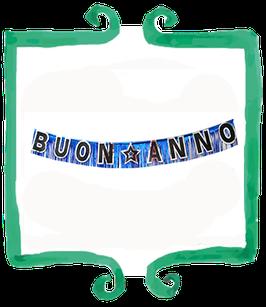 Festone Buon Anno nero e argento - 3 mt