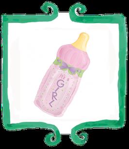 Palloncino Nascita Biberon rosa