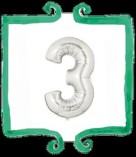 palloncino Numero 3 grande - 100 cm