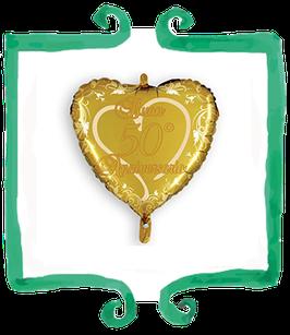 Palloncino mylar a forma di cuore Buon 50° Anniversario - 18 in (45 cm)