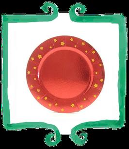 Sottopiatto Rosso con Stelle Glitterate - 2 pezzi