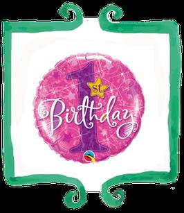 Palloncino 1 compleanno fucsia glitterato