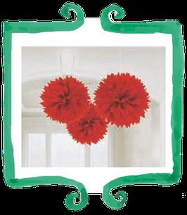 Decorazione Fluffly in carta rosso - 3 pezzi diametro 40 cm