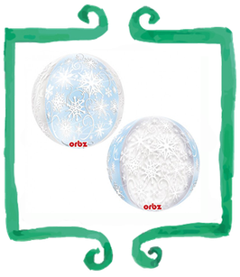 Palloncino Mylar  Sfera con Fiocchi di Neve - 15 in x 16 in (38 cm x 40 cm)