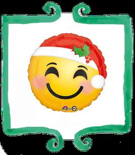 Palloncino Mylar Smile con Cappellino di Natale - 17 in(43 cm)