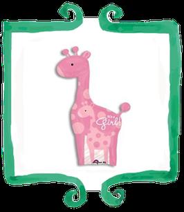Palloncino Nascita Giraffa It's a Girl rosa