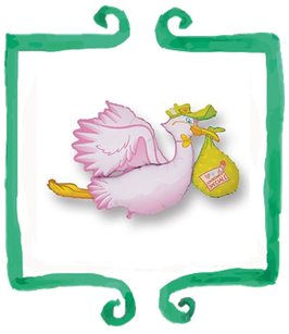 Palloncino Mylar Cicogna rosa - 1 mt